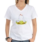 White Chinese Geese Women's V-Neck T-Shirt