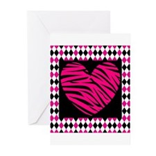 Pink Heart Zebra on Diamonds Greeting Cards