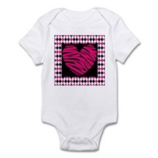 Pink Heart Zebra on Diamonds Body Suit