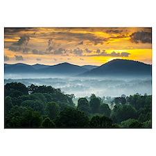 Asheville Nc Blue Ridge Mountains Sunset And Fog