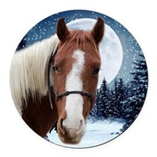 Paint Horse Winter Round Car Magnet