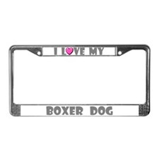 I Love My Boxer Dog License Plate Frame