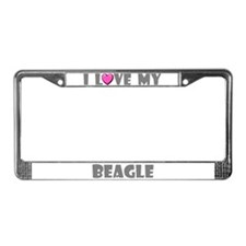 I Love My Beagle License Plate Frame