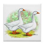 Embden Goose Pair Tile Coaster