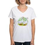 Embden Goose Pair Women's V-Neck T-Shirt