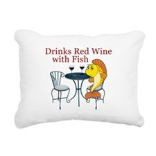 Drinks Red Wine with Fish Rectangular Canvas Pillo