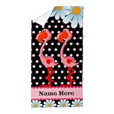 Flamingo, Daisy Polka Dot Custom Beach Towel