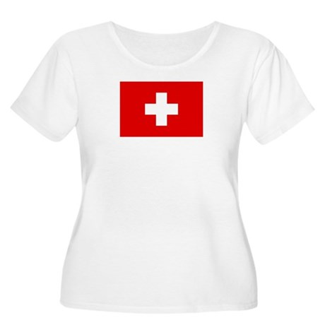 SWISS CROSS FLAG Women's Plus Size Scoop Neck Tee