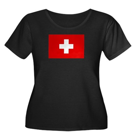 SWISS CROSS FLAG Women's Plus Size Scoop Neck Dark