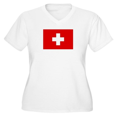 SWISS CROSS FLAG Women's Plus Size V-Neck T-Shirt