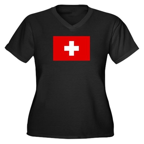 SWISS CROSS FLAG Women's Plus Size V-Neck Dark Tee