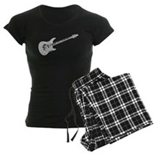 Electric Guitar Shaped Word Cloud Pajamas