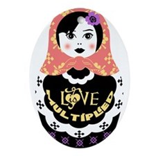 Funny Russian stacking dolls Ornament (Oval)