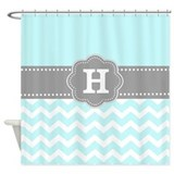 Aqua chevron shower curtain Shower Curtains