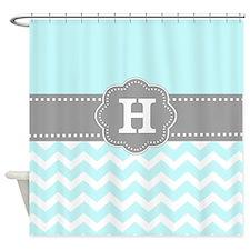 Aqua Gray Chevron Monogram Shower Curtain