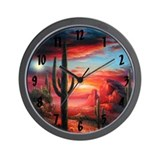 Sunrise Cactus Wall Clock