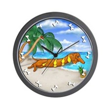 Wiener Babe on the Beach Wall Clock