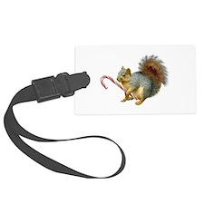 Squirrel Candy Cane Luggage Tag