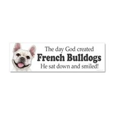 God smiled: Cream Frenchie Car Magnet 10 x 3