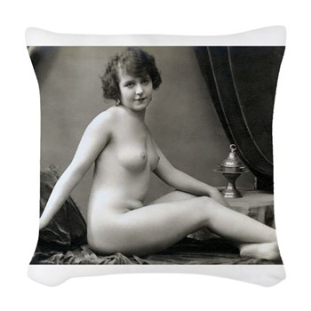 Vintage Nude With Dirty Foot Woven Throw Pillow
