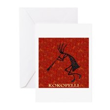 Kokopelli Red Coral and Turqu Greeting Cards (Pack