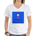 My Daddy Does My Hair Two Women's V-Neck T-Shirt