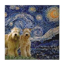 Starry Night & 2 Wheatens Tile Coaster