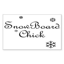 Snowboard Chick Snowflake Rectangle Decal