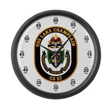 USS Lake Champlain Navy Time Large Wall Clock