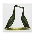 Black Runner Ducks Tile Coaster