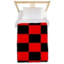 Bright red and black checkerboard Twin Duvet