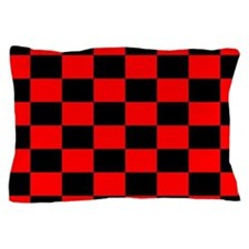 Bright red and black checkerboard Pillow Case