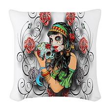 Candy Rose Skull Woven Throw Pillow