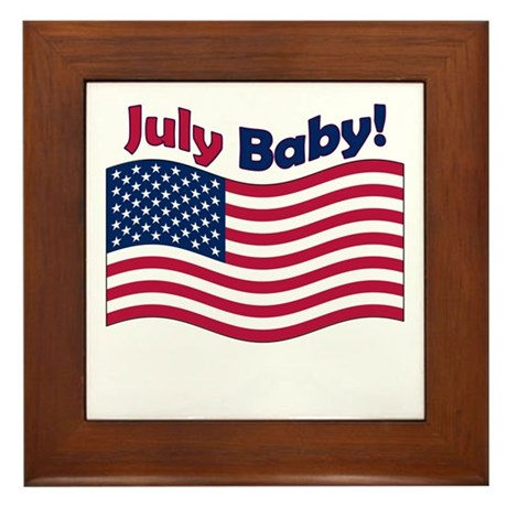 July Baby Framed Tile