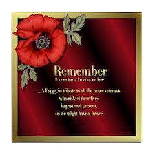 Remember Poppy Tile Coaster