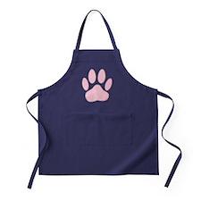 100% Pink Dog Pawprint Apron (dark)