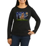 Starry Night Golden Women's Long Sleeve Dark T-Shi