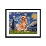Starry Night Golden Framed Panel Print
