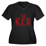 KGB Women's Plus Size V-Neck Dark T-Shirt