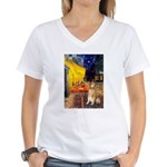 Cafe & Golden Women's V-Neck T-Shirt