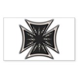 Black Chrome Flame Biker Cross Rectangular Decal