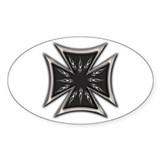 Black Chrome Flame Biker Cross Oval Decal