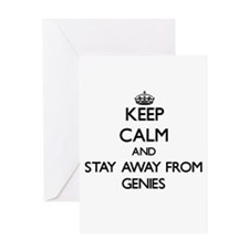 Keep calm and stay away from Genies Greeting Cards