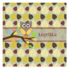 Owl On Branch Over Leaves Personalized Invitations