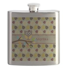 Owl On Branch Over Leaves Personalized Flask