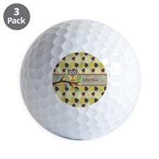 Owl On Branch Over Leaves Personalized Golf Ball