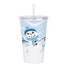 Bluesy Snowman Acrylic Double-Wall Tumbler