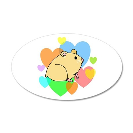 Hamster Hearts 35x21 Oval Wall Decal