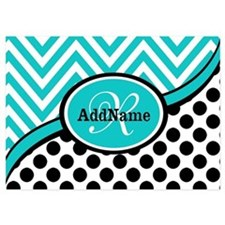 Teal Chevron Black Dots Monogram Invitations