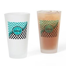 Teal Chevron Black Dots Monogram Drinking Glass